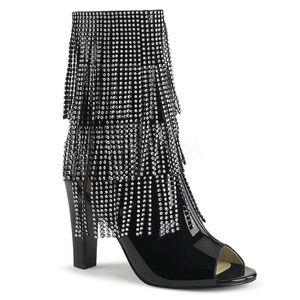 "Shoes - 4"" High Heel Rhinestone Layered Fringe Ankle Boots"